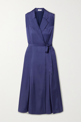 Jason Wu Belted Satin Wrap Midi Dress - Midnight blue