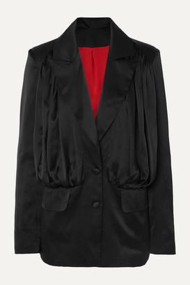 MATÉRIEL Gathered Silk-satin Mini Dress - Black