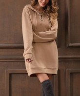 Z Avenue Women's Sweater Dresses Khaki - Khaki Lace-Up Hoodie Sweatshirt Dress - Women & Plus