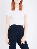 The Elder Statesman Cropped cashmere and silk-blend T-shirt
