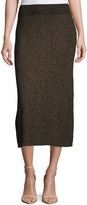 A.L.C. Cook Ribbed Metallic Midi Skirt, Black/Apricot