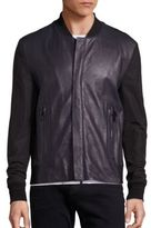 J Brand Sabik Paneled Leather Bomber Jacket