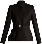 Lanvin Draped-side high-neck wool-twill jacket