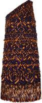 MSGM One-shoulder embellished cotton-blend mini dress