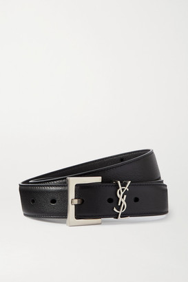 Saint Laurent Monogramme Leather Belt - Black