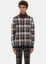 Fendi Men's Checked Hairy Knit Roll Neck Sweater In Navy, White And Brown