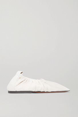 Neous Phinia Gathered Leather Ballet Flats - Cream