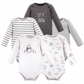 Hudson Baby Unisex Baby Long Sleeve Cotton Bodysuits Gray Penguin Pack 18-24 Months (24M)