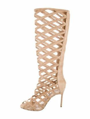 Manolo Blahnik Suede Knee-High Boots Tan