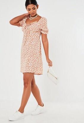 Missguided Peach Floral Milkmaid Mini Dress