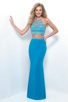 Blush Lingerie Two-Piece Gem Embellished Halter Top Evening Gown 11248