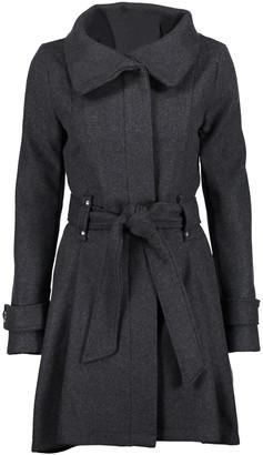Yoki Women's Car Coats CHARCOAL - Charcoal Belted Funnel-Collar Coat - Women