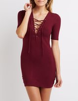 Charlotte Russe Ribbed Lace-Up Bodycon Dress