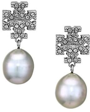 Tory Burch Silvertone, Crystal & Faux-Pearl Logo Drop Earrings