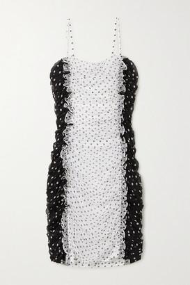 House of Holland Ruffled Polka-dot Silk-chiffon Mini Dress - White