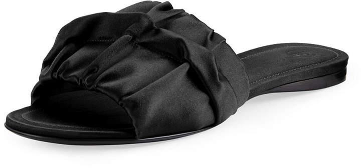 The Row Ellen Ruched Satin Mule Sandal