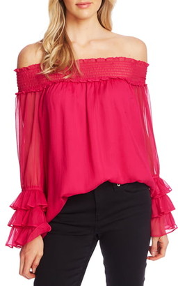 CeCe Smocked Off the Shoulder Blouse