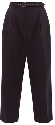 Chimala High-rise Wool-blend Twill Cropped Trousers - Womens - Navy