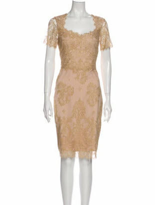Marchesa Notte Lace Pattern Knee-Length Dress w/ Tags Gold