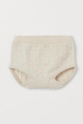 H&M Pattern-knit Puff Pants - Beige