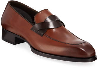 Tom Ford Men's Elkan Twisted-Keeper Leather Loafers