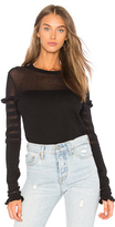 Autumn Cashmere Shadow Stripe Ruffle Sweater in Black. - size L (also in M,S,XS)