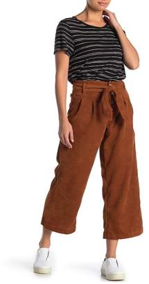 THE GROUP LA Corduroy Wide Leg Waist Tie Cropped Pants