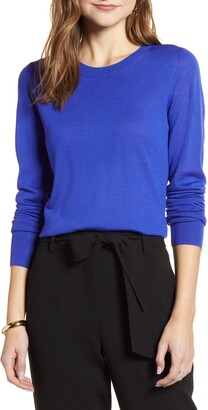 Halogen Crewneck Lightweight Merino Wool Blend Sweater