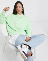 Weekday Huge round neck cropped sweatshirt in mint green
