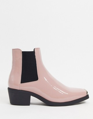 ASOS DESIGN cuban heel western chelsea boots in pink patent with metal hardware