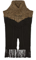 Thakoon fringed cable-knit wool-blend sweater