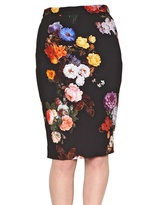 Dolce & Gabbana Floral Print Stretch Cady Pencil Skirt