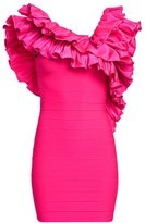 Herve Leger Crisscross Ruffle Mini Dress