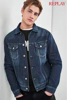 Mens Replay Mid Wash Denim Trucker Jacket - Blue