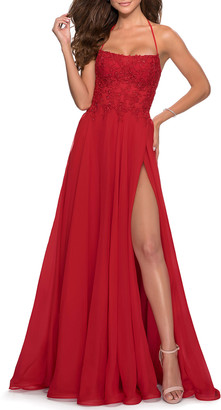La Femme Square-Neck Lace-Up Corset Gown with High-Slit