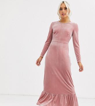 Glamorous Petite midi dress with peplum hem in velvet