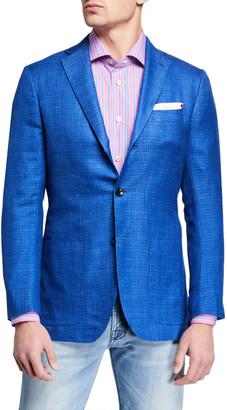 Kiton Men's Tonal Check Cashmere-Blend Sport Jacket