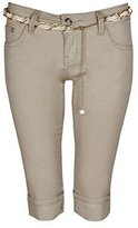 My Mix Trendz Women's ladies stretch denim belted cropped capri pants