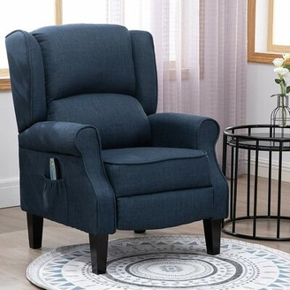 "Andover Millsâ""¢ Heer Heated Vibrating Massage 20.5"" Manual Recliner Andover Millsa Upholstery Color: Blue"