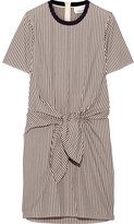 3.1 Phillip Lim Tie-front Cutout Striped Cotton And Silk-blend Oxford Mini Dress - Dark brown