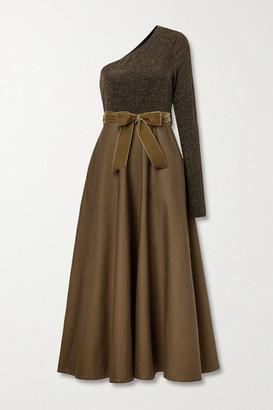 ARTCLUB + Net Sustain Casa Miller Velvet-trimmed Cotton-twill And Stretch-lurex Wrap Maxi Dress - Brown