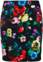 Love Moschino floral pixel tube skirt