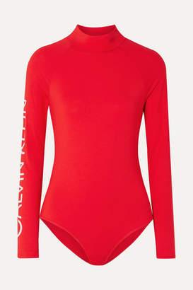 Calvin Klein Underwear Statement 1981 Printed Stretch-modal Jersey Bodysuit - Red