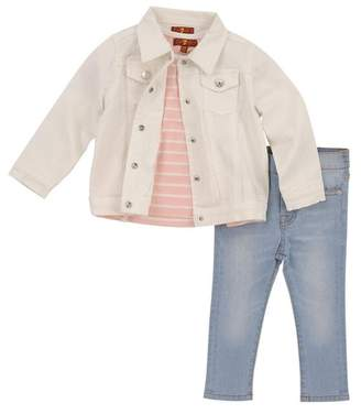 7 For All Mankind Kids Girls 2T-4T Denim Set Three Piece Tee Jacket And Jean In Pearl Stripe