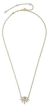 BaubleBar Tali Cubic Zirconia Evil Eye Pendant Necklace in 14K Gold Plated Sterling Silver, 16-19