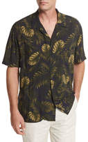 Vince Leaf-Print Short-Sleeve Cabana Shirt, Navy