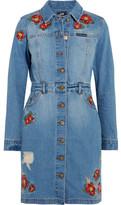 House of Holland + Lee Embroidered Denim Mini Dress