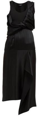 Atlein - Draped-bodice Satin Dress - Black