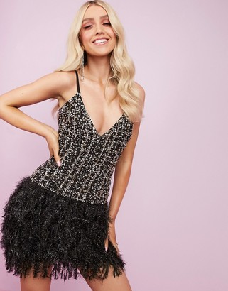 Asos Design DESIGN Luxe embellished faux feather cami mini dress in black