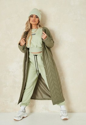 Missguided Khaki Chevron Quilted Long Coat